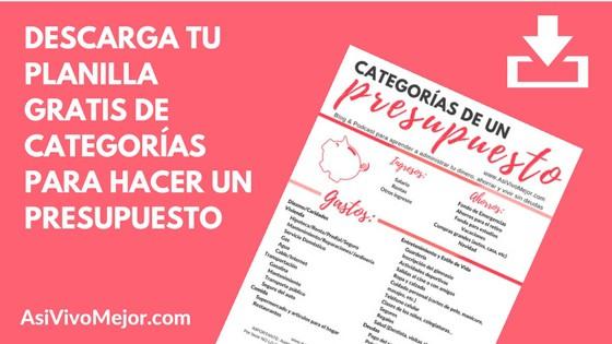 Planilla gratis de categorias para hacer un presupuesto
